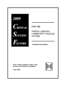 The major accountability report on North Carolina's community colleges